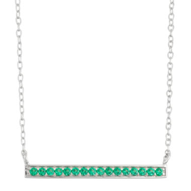 jcpenney.com | Simulated Emerald Bar Sterling Silver Necklace