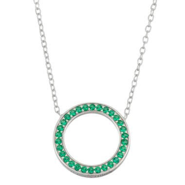 jcpenney.com | Simulated Emerald Sterling Silver Circle Necklace