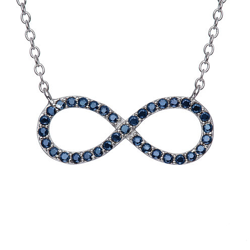 Simulated Blue Sapphire Sterling Silver Infinity Necklace
