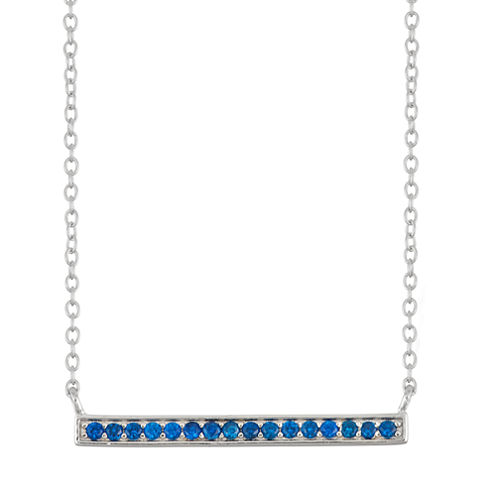 Simulated Blue Sapphire Bar Sterling Silver Necklace