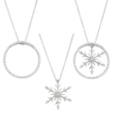 jcpenney.com | Blue Topaz  & Lab-Created White Sapphire Circle And Snowflake Interchangeable Sterling Silver Pendant Necklace
