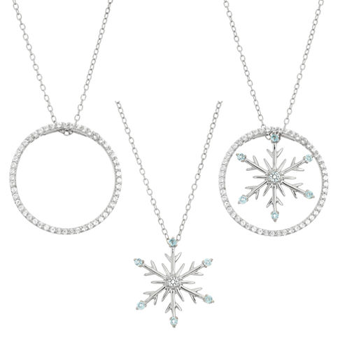 Blue Topaz  & Lab-Created White Sapphire Circle And Snowflake Interchangeable Sterling Silver Pendant Necklace