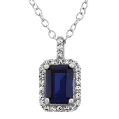 jcpenney.com | Sterling Silver Emerald Cut Created Blue Sapphire & Simulated Diamond Halo Pendant Necklace