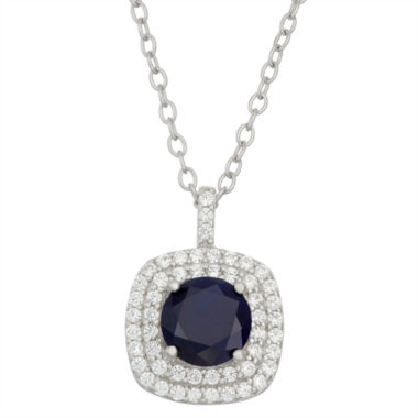jcpenney.com | Simulated Round Blue Sapphire & Cubic Zirconia Sterling Silver Pendant