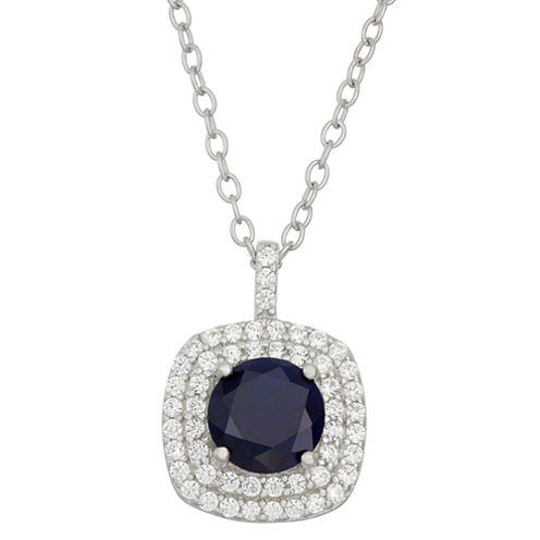 Simulated Round Blue Sapphire & Cubic Zirconia Sterling Silver Pendant