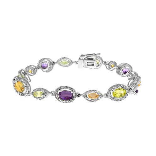 Multi-Gemstone Sterling Silver Bracelet