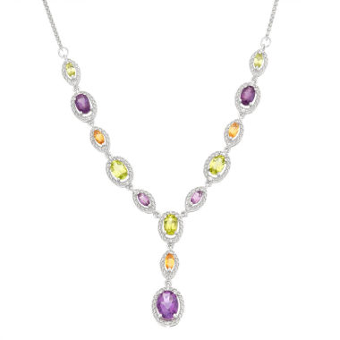 jcpenney.com | 1/10 CT. T.W. Diamond & Multi-Gemstone Sterling Silver Necklace