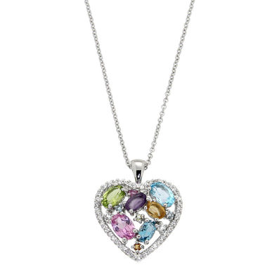 jcpenney.com | Multi-Gemstone Sterling Silver Heart Pendant Necklace