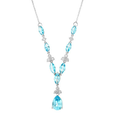 jcpenney.com | 1/10 CT. T.W. Diamond & Genuine Blue Topaz Sterling Silver Necklace