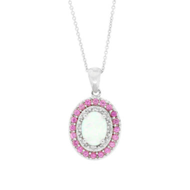 jcpenney.com | Lab Created Opal, Pink Sapphire & Diamond Accent Sterling Silver Pendant Necklace
