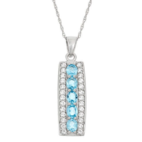 Genuine Swiss Blue Topaz And White Topaz Sterling Silver Pendant Necklace