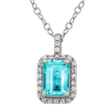 jcpenney.com | Genuine Blue Topaz & Cubic Zirconia Sterling Silver Pendant Necklace