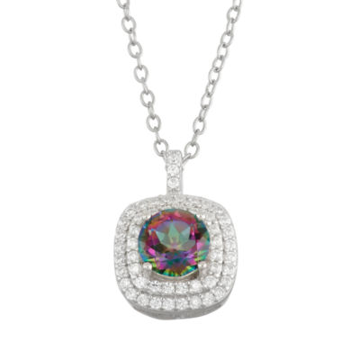 jcpenney.com | Simulated Mystic Topaz & Cubic Zirconia Sterling Silver Pendant Necklace