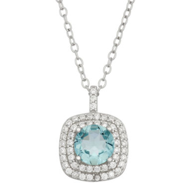 jcpenney.com | Simulated Blue Topaz & Cubic Zirconia Sterling Silver Pendant Necklace