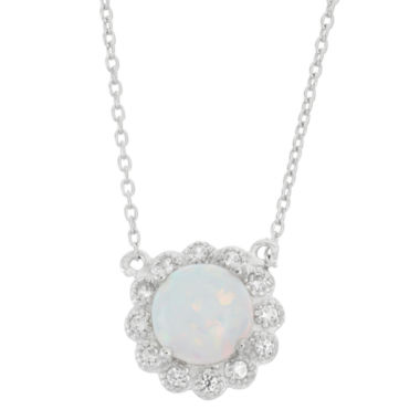 jcpenney.com | Lab Created Opal & White Sapphire Sterling Silver Halo Necklace