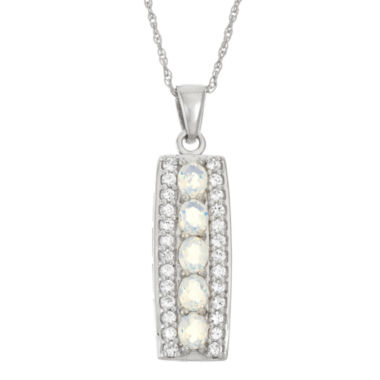jcpenney.com | Lab-Created Opal & Genuine White Topaz Sterling Silver Pendant