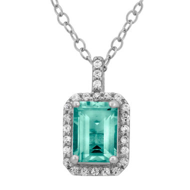 jcpenney.com | Simulated Aquamarine & Cubic Zirconia Sterling Silver Pendant Necklace