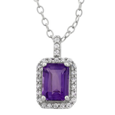 jcpenney.com | Genuine Amethyst & Cubic Zirconia Sterling Silver Pendant Necklace