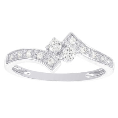 jcpenney.com | 1/6 CT. T.W. Diamond Two-Stone 14K White Gold Promise Ring 2