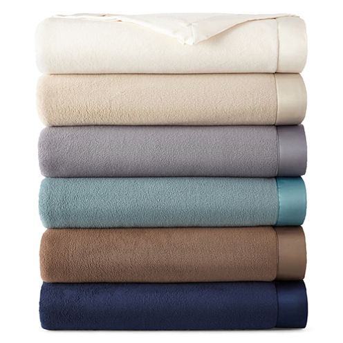 JCPenney Home Satin Trim Fleece Blanket