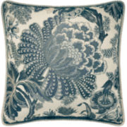 Croscill Classics® Blue & Cream Jacobean Square Decorative Pillow