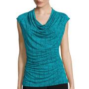 Worthington® Short-Sleeve Cowlneck Top - Petite