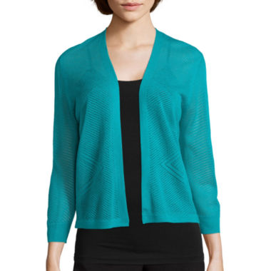jcpenney.com | Worthington® 3/4-Sleeve Open Front Cardigan - Petite