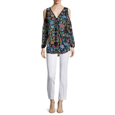jcpenney.com | nicole by Nicole Miller® Surplus Cold Shoulder Blouse and Slim Fit Ankle Pants