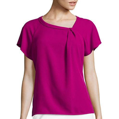 Liz Claiborne® Short-Sleeve Asymmetrical Knot Blouse - Tall