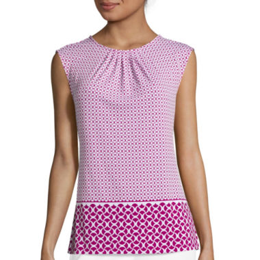jcpenney.com | Liz Claiborne® Sleeveless Pleated Neck Print Knit Top