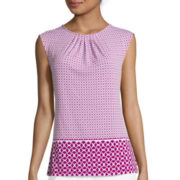 Liz Claiborne® Sleeveless Pleated Neck Print Knit Top
