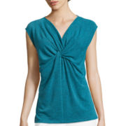 Liz Claiborne® Sleeveless Knot-Front Top
