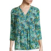 Liz Claiborne® 3/4-Sleeve Pintuck Print Blouse