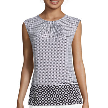 jcpenney.com | Liz Claiborne® Sleeveless Pleated Neck Print Knit Top - Tall