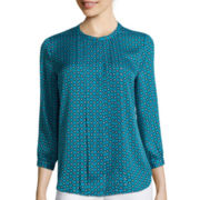 Liz Claiborne® 3/4-Sleeve Pleat Front Blouse