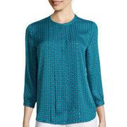 Liz Claiborne® 3/4-Sleeve Pleat Front Blouse