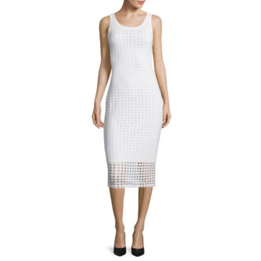 jcpenney.com | BELLE + SKY™ Sleeveless Perforated Bodycon Midi Dress