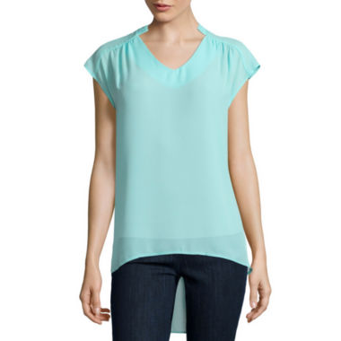 jcpenney.com | BELLE + SKY™ Short-Sleeve High Low Blouse