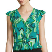 Worthington® Sleeveless Ruffle Button-Down Blouse