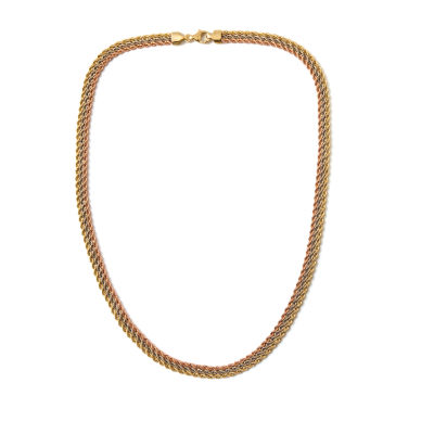 14k Tri-Color Gold Circles Necklace 18inch