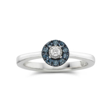 jcpenney.com | 1/10 CT. T.W. Blue & White Diamond Flower Promise Ring