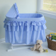 Lamont Home Good Night Baby Bassinet - Blue Gingham Full Skirt