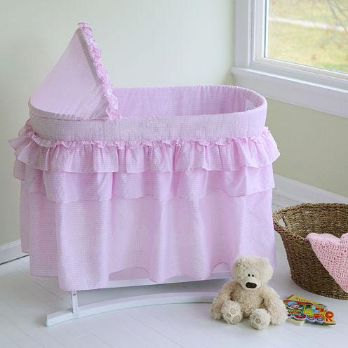 Lamont Home Good Night Baby Bassinet - Pink Gingham Full Skirt