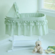 Lamont Home Good Night Baby Bassinet - Sage Gingham Half Skirt