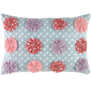 Petals Floral Oblong Yo-Yo Decorative Pillow