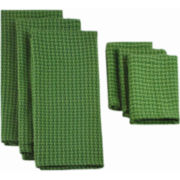 Solid Set of 6 Dish Towels and Dish Cloths