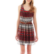 by&by® Sleeveless Tribal Print Belted Dress