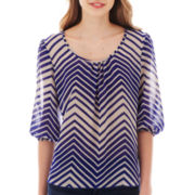 Heart & Soul® 3/4 – Sleeve Chevron Print Peasant Top