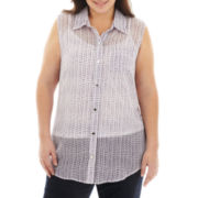 Liz Claiborne Sleeveless Print Top with Cami - Plus