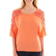 a.n.a® Elbow-Sleeve Crochet Top